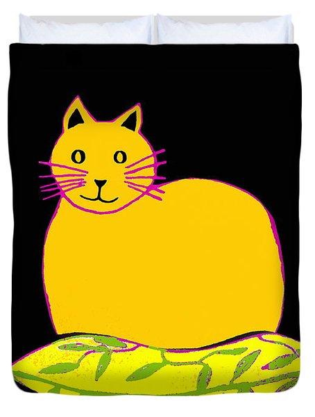 Saffron Cat On Black Duvet Cover by Barbara Moignard