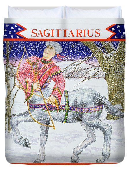 Sagittarius Wc On Paper Duvet Cover
