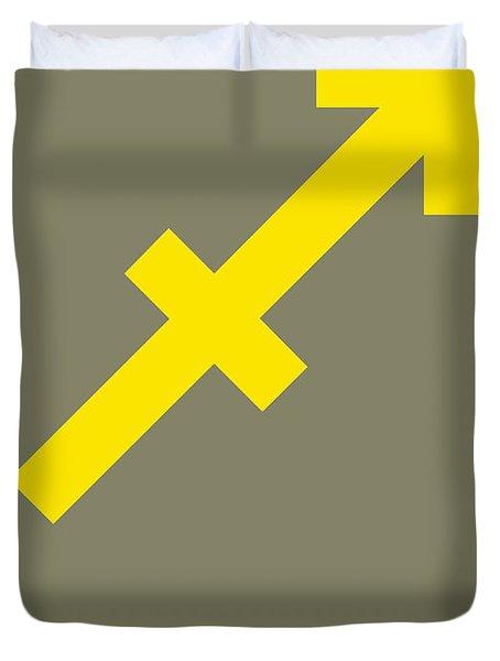 Sagittarius Zodiac Sign Yellow Duvet Cover