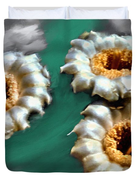 Saguaro Cactus Blossoms Duvet Cover by Bob and Nadine Johnston