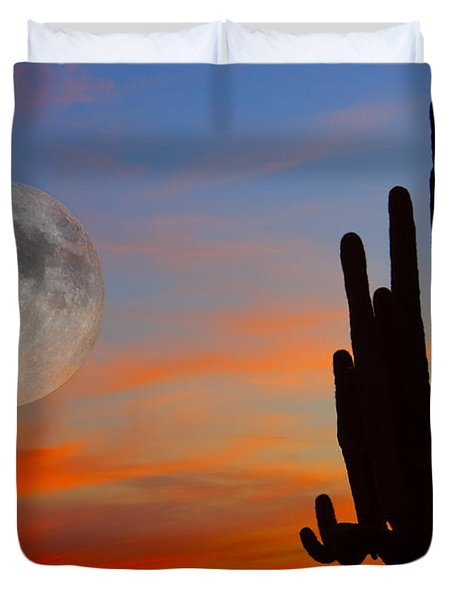 Saguaro Full Moon Sunset Duvet Cover