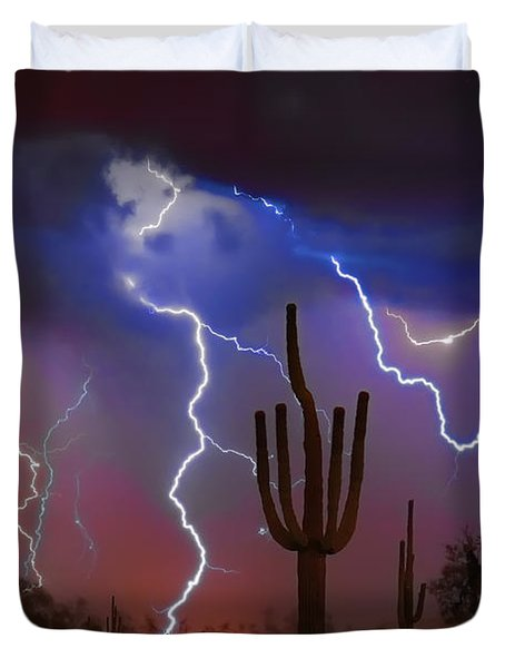 Saguaro Lightning Nature Fine Art Photograph Duvet Cover