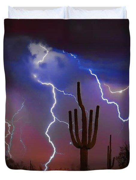 Saguaro Lightning Nature Fine Art Photograph Duvet Cover