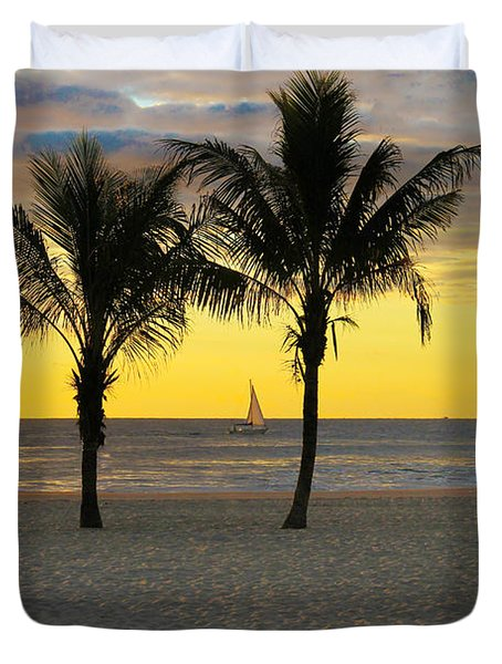 Sail Away At Dawn Duvet Cover by Roger Becker