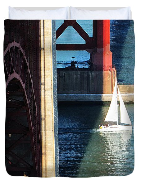 Sail Boat Passes Beneath The Golden Gate Bridge Duvet Cover