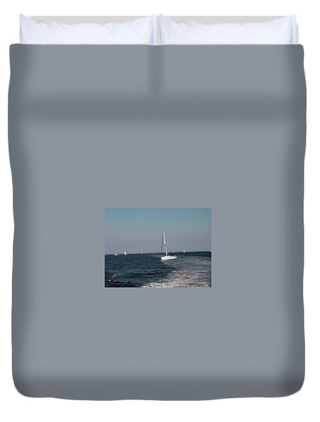 Duvet Cover featuring the photograph Sail Boats In Chesapeake Bay by Dorothy Maier