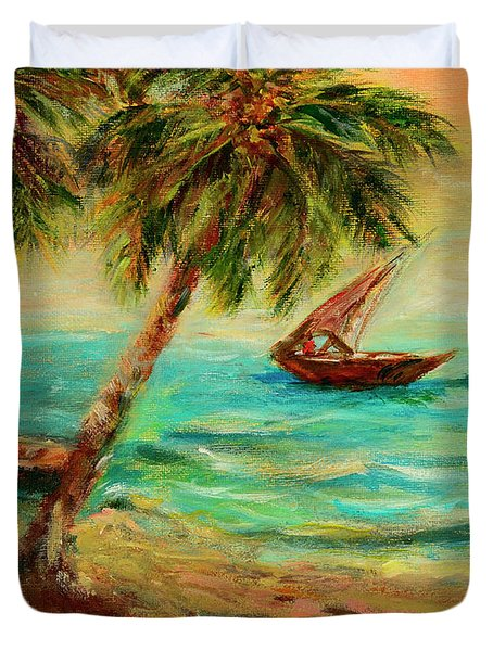 Sail Boats On Indian Ocean  Duvet Cover