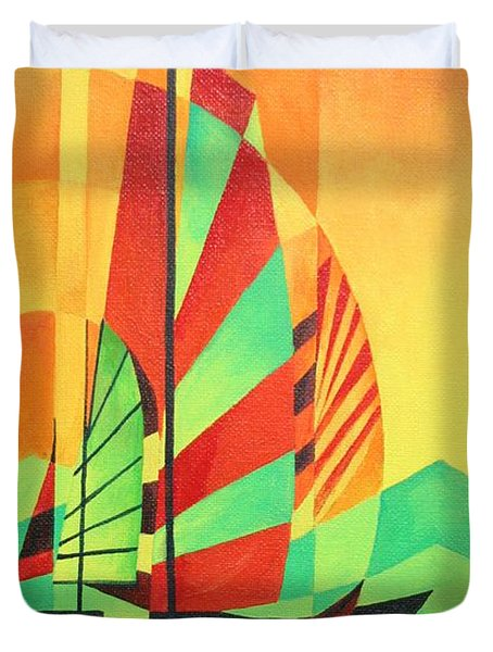 Duvet Cover featuring the painting Sail To Shore by Tracey Harrington-Simpson