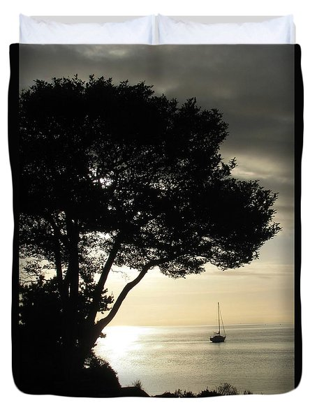 Sailboat At Dawn Duvet Cover
