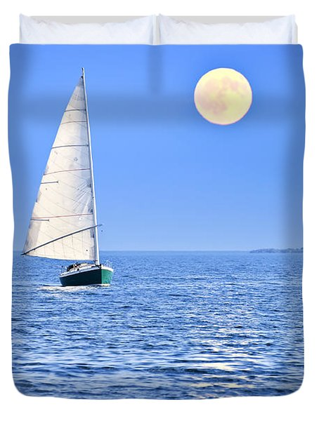 Sailboat At Full Moon Duvet Cover