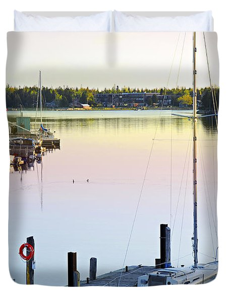 Sailboat At Sunrise Duvet Cover