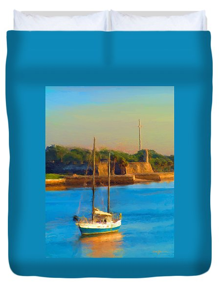 Da147 Sailboat By Daniel Adams Duvet Cover