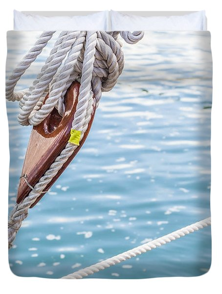 Duvet Cover featuring the photograph Sailboat Deadeyes 1 by Leigh Anne Meeks