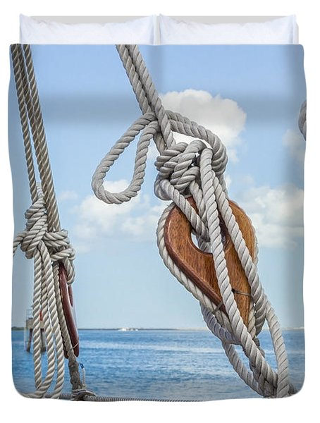 Duvet Cover featuring the photograph Sailboat Deadeyes 2 by Leigh Anne Meeks