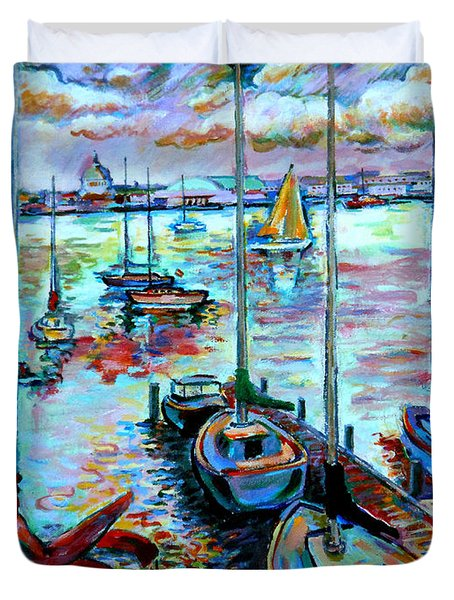 Duvet Cover featuring the painting Sailboat Harbor by Stan Esson