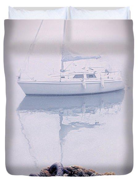 Sailboat In Fog Duvet Cover by Jill Battaglia