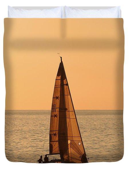 Sailboat In Hawaii Duvet Cover by Kim Hojnacki
