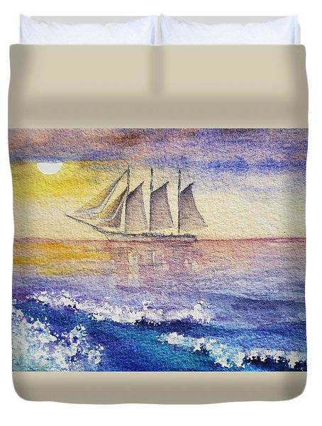 Sailboat In The Ocean Duvet Cover by Irina Sztukowski