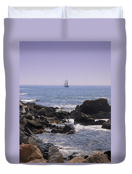 Sailboat - Maine Duvet Cover by Photographic Arts And Design Studio