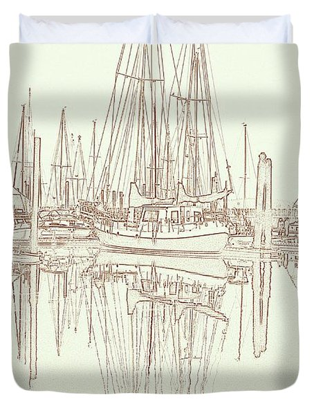 Duvet Cover featuring the photograph Sailboat On Liberty Bay by Greg Reed