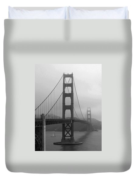 Sailboat Passing Under Golden Gate Bridge Duvet Cover by Connie Fox