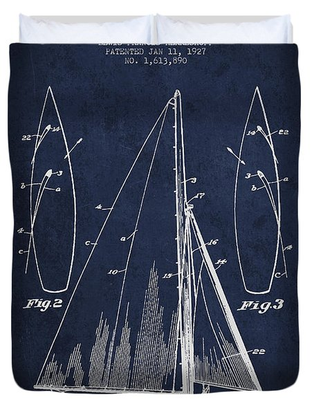 Sailboat Patent Drawing From 1927 Duvet Cover