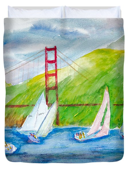 Sailboat Race At The Golden Gate Duvet Cover