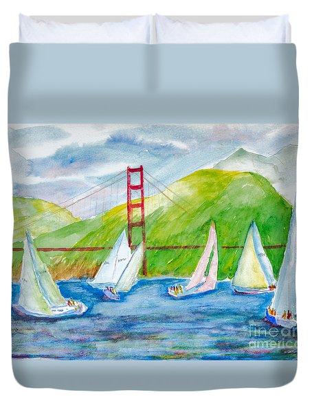 Sailboat Race At The Golden Gate Duvet Cover