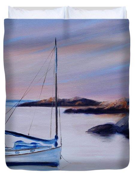 Sailboat Reflections I Duvet Cover by Donna Tuten