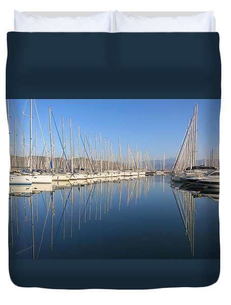 Sailboat Reflections Duvet Cover