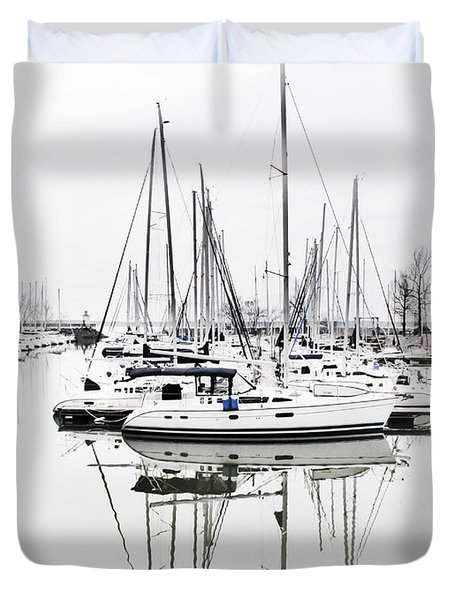 Duvet Cover featuring the photograph Sailboat Row With Touches Of Blue by Greg Jackson