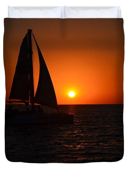 Sailboat Sunset Duvet Cover
