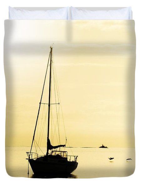 Sailboat With Sunglow Duvet Cover