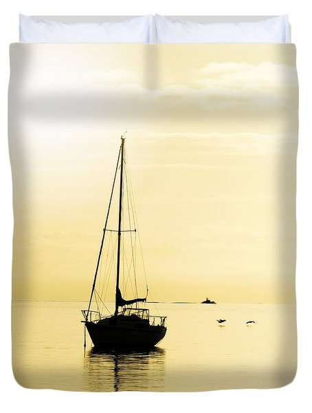 Sailboat With Sunglow Duvet Cover by Barbara Henry