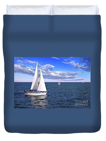 Sailboats At Sea Duvet Cover by Elena Elisseeva