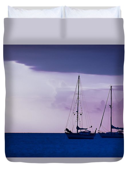 Duvet Cover featuring the photograph Sailboats At Sunset by Don Schwartz