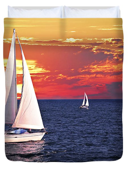 Sailboats At Sunset Duvet Cover