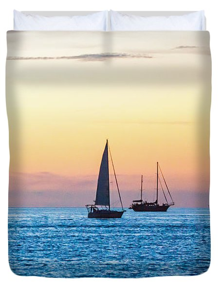 Sailboats At Sunset Off Key West Florida Duvet Cover by Photographic Arts And Design Studio