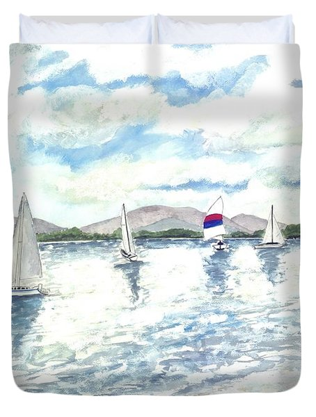 Sailboats Duvet Cover by Derek Mccrea