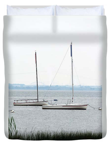 Duvet Cover featuring the photograph Sailboats In Battery Park Harbor by David Jackson