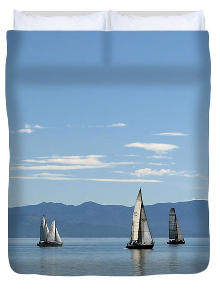 Sailboats In Blue Duvet Cover