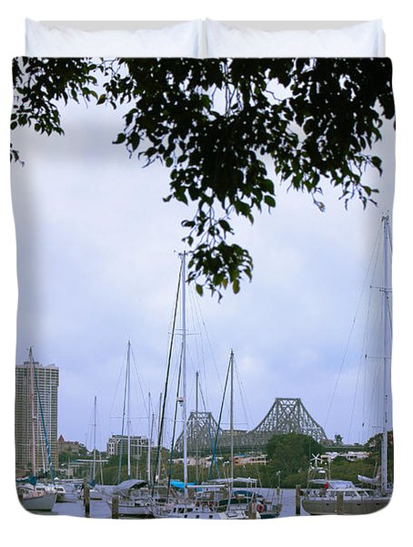 Sailboats In Brisbane Australia Duvet Cover