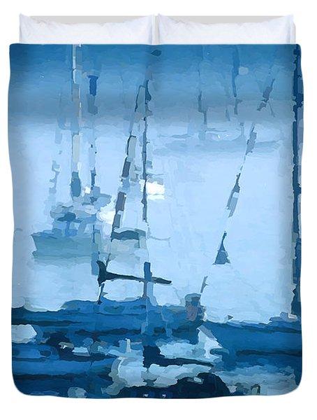 Sailboats In The Fog II Duvet Cover