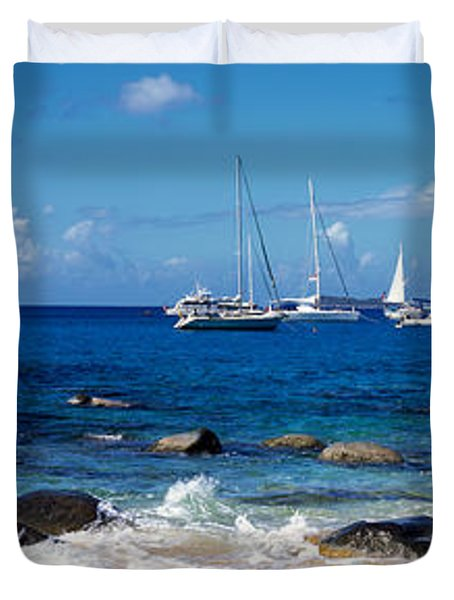 Sailboats In The Sea, The Baths, Virgin Duvet Cover by Panoramic Images