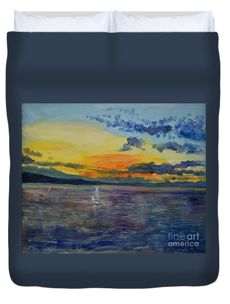 Sailboats Near Stockholm Duvet Cover
