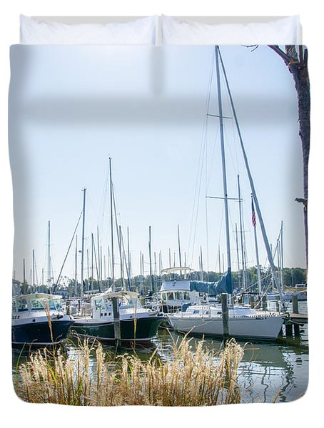 Sailboats On Back Creek Duvet Cover
