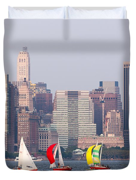 Sailboats On The Hudson I Duvet Cover by Clarence Holmes