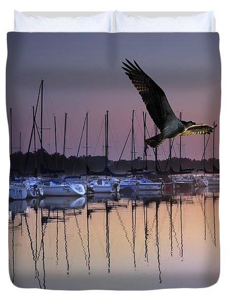 Sailboats Osprey Sunrise Duvet Cover by Randall Branham