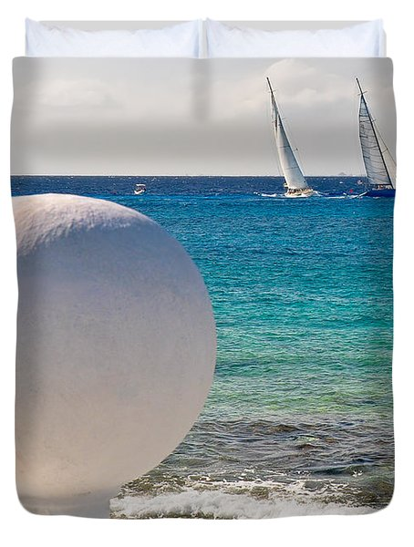Sailboats Racing In Cozumel Duvet Cover by Mitchell R Grosky