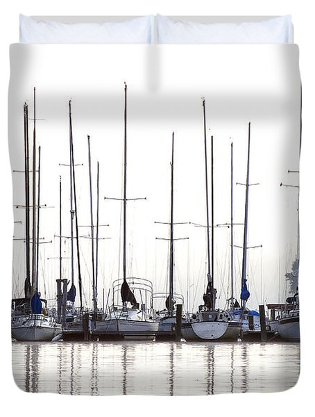 Sailboats Reflected Duvet Cover